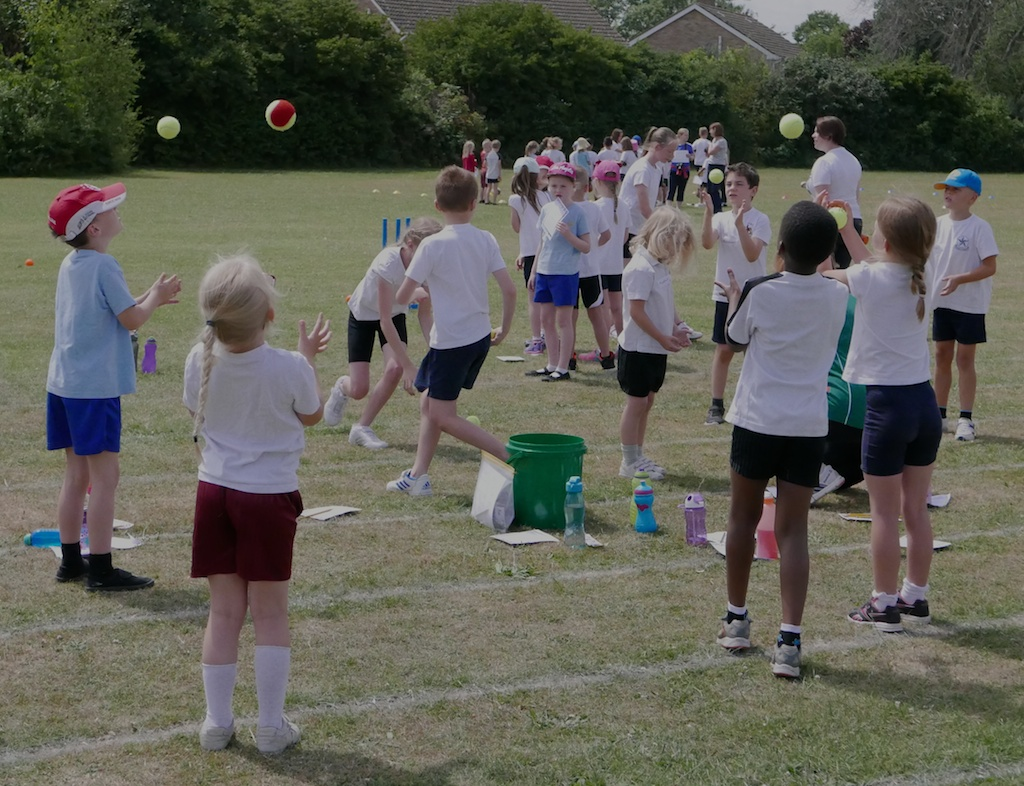 Primary School Fun Sports Day  - Catching a ball is the first thing to learn!