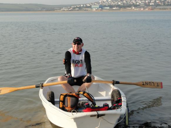Marathons on South West Coastal Path - Martin trying out the dinghy before setting off for Padstow