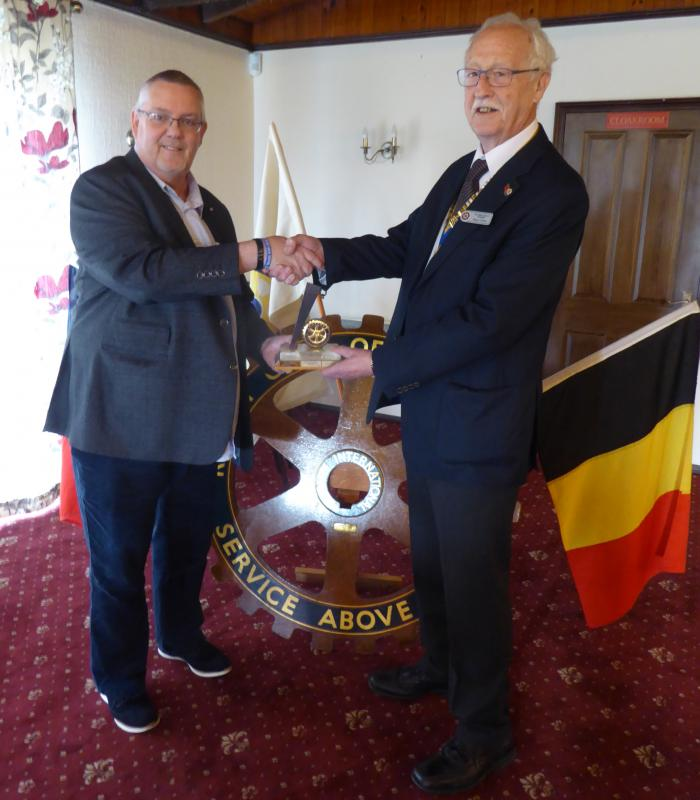 Dunstable and Flitwick Vale Joing Meeting - Presentation by the Rotary Club's President, Roger Clark, to Paul Bowen-James.