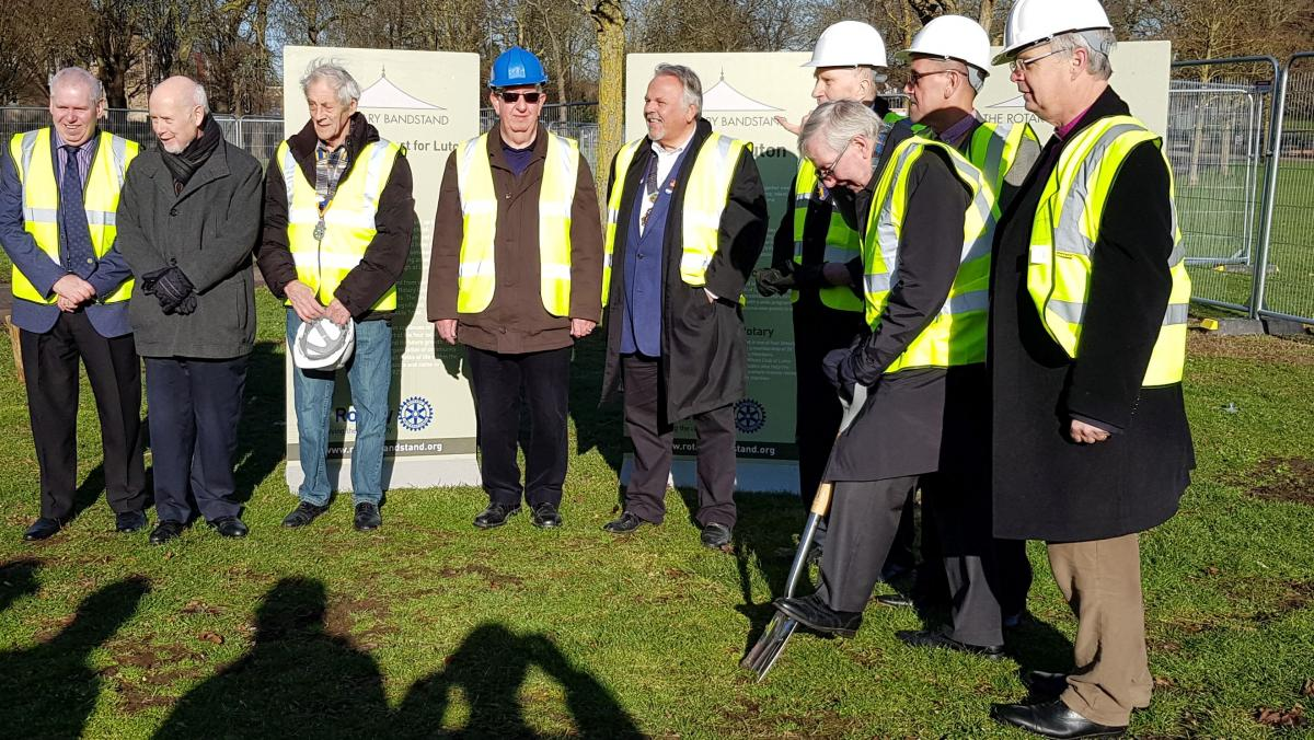 Breaking ground on the Luton Bandstand -