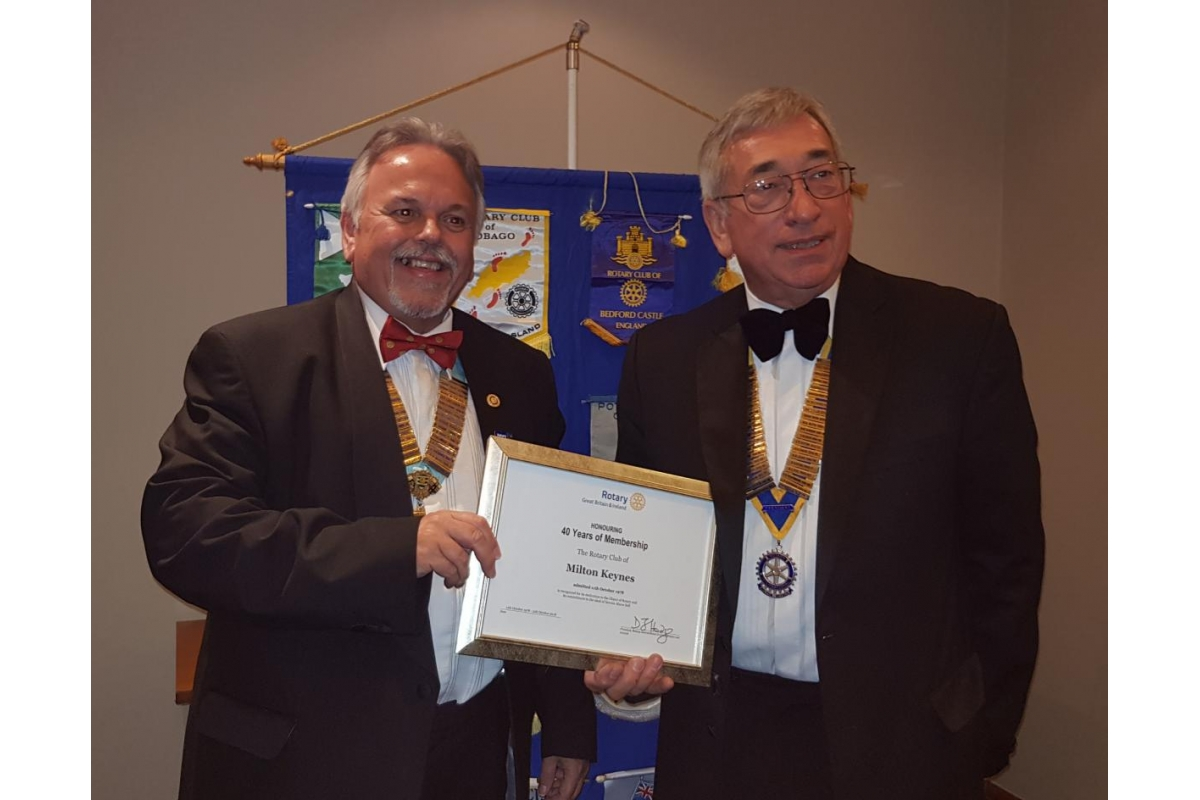 DG's Newsletter - November 2018 - DG Dave with Milton Keynes President Philip Smith Celebrating 40 years