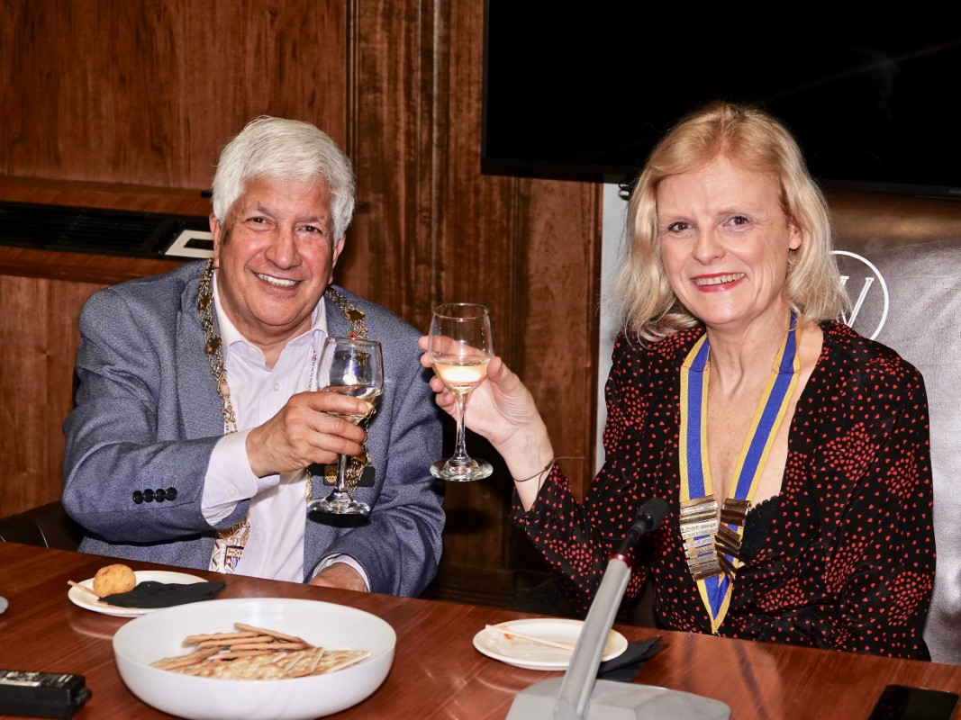 Watford Rotary Club Celebrates 95 Years Of Service - Area District Governor Rabi Martins with Nancy's Isabelle
