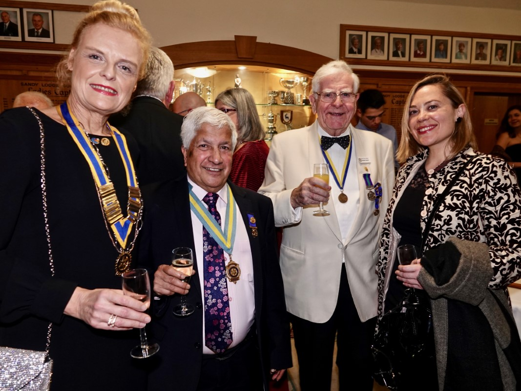 Watford Rotary Club Celebrates 95 Years Of Service - Isabelle, Rabi, together with Watfrod's Elder Statesman Michael Hammond and guest from Nancy
