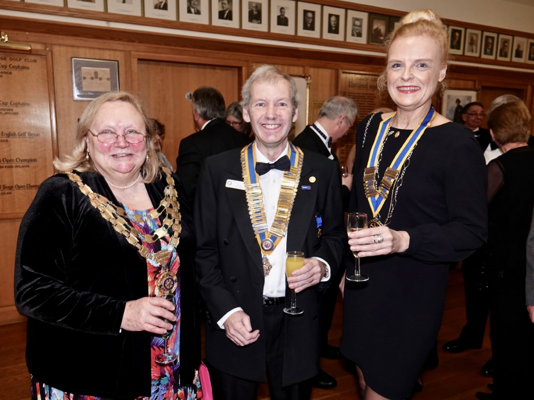 Watford Rotary Club Celebrates 95 Years Of Service - RIBI President Debbie Hodge with Tim and Isabelle