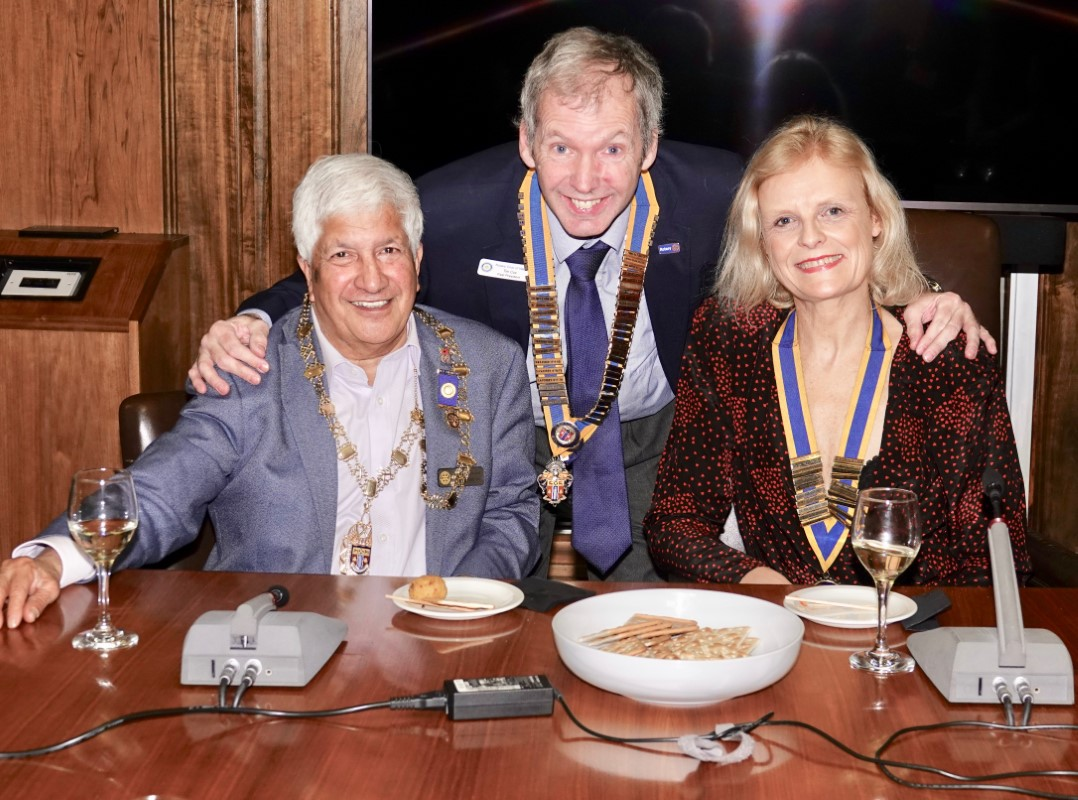 Watford Rotary Club Celebrates 95 Years Of Service - Rabi, Tim and Isabelle at the Wine and Cheese Party