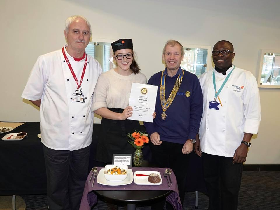 Watford Young Chef - Andy Wakeford, Winner Holly, Watford Rotary President Tim Cox and Chef Pedro