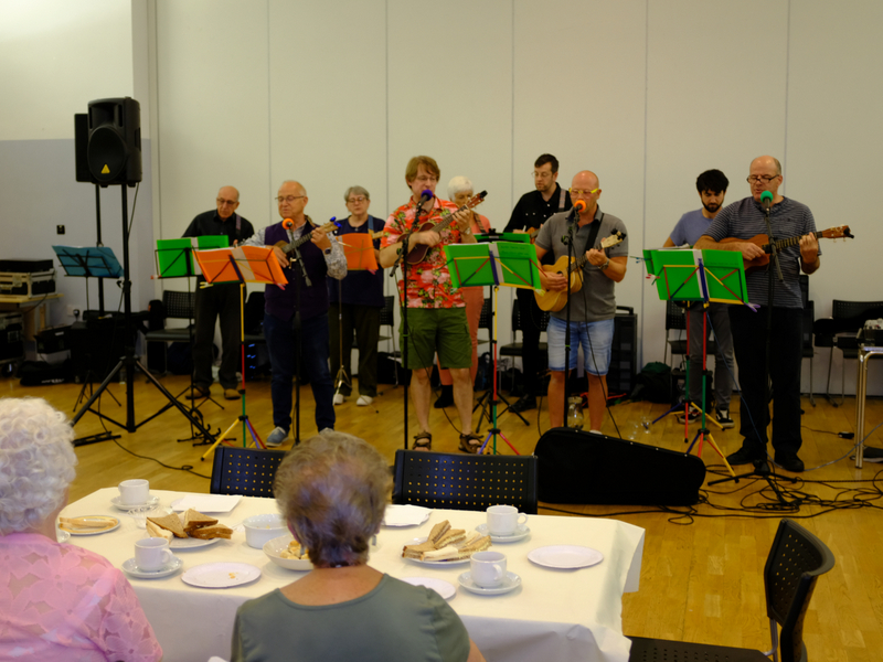 Cottingley Senior Citizens Tea Party - Baildon Ukelele band Entertains