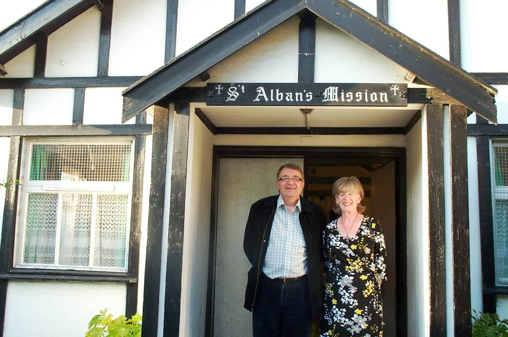 St Albans Project - John and Mavis outside St Albans premises