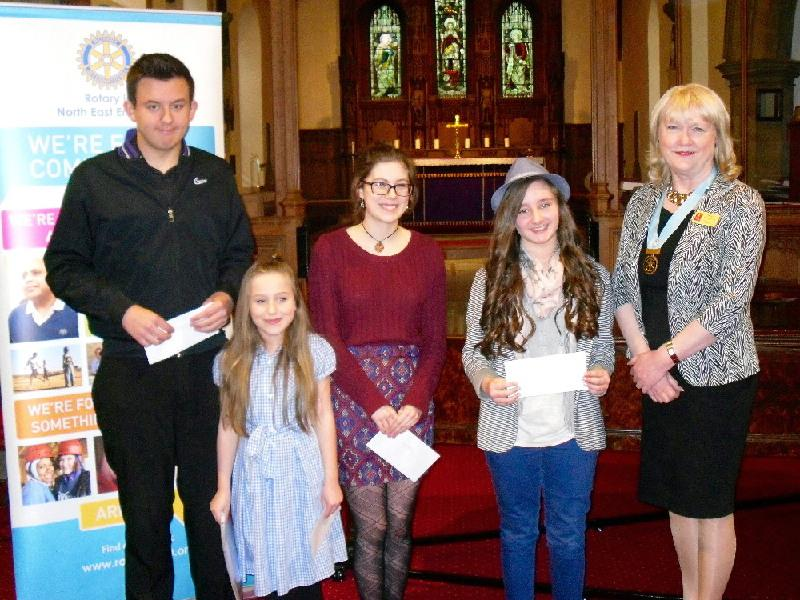 Young Musician 2015 - District Final - The winners and runners-up with DG Jean Thompson