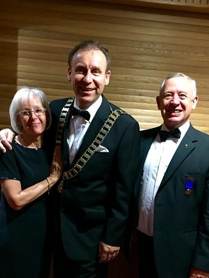Trio of Past Presidents Reunite - Phil and Joan Hopps with Rotary Ireland District Governor Garth Arnold