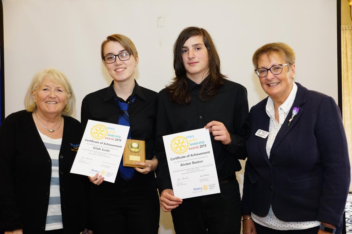Youth - Nairn Academy pupils Eilidh Smith and Alisdair Beaton receiving their Certificates of Achievement from Nairn Rotary Club. Also shown are (left) Christine Mackenzie, RYLA & Youth team leader (right) Sheena Macgillivray District RYLA girl's camp leader 2019