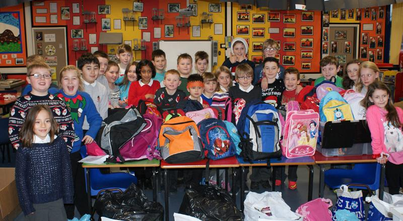 Mary's Meals Backpacks - Westhill Primary School 2014 -