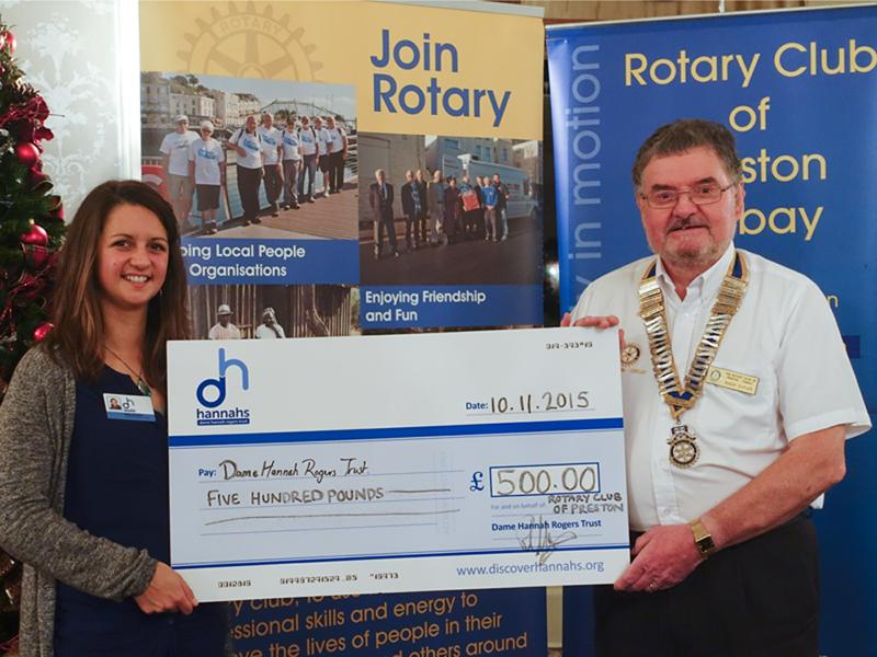 Supporting hannahs - The picture shows Rotary Club President presenting the cheque to Emily van Vliet of Hannahs.