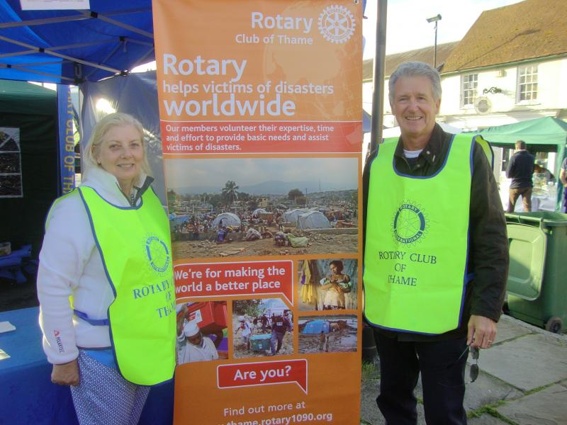 Thame Rotary at Thame Food Festival - Behind: new Disasters Relief banner design