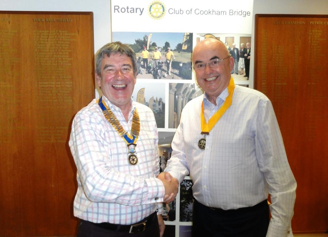 Organisation of Cookham Bridge Rotary Club - Chris Vance welcomes President Elect Peter Roe