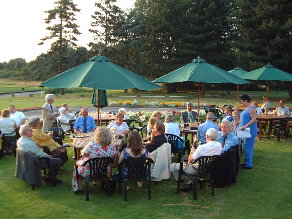 Club Members - Drinks on a Summer's evening before dinner at Fulwell Golf Club in 2002.