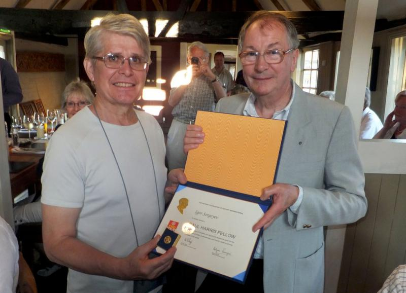 Visit from Pirmasens RC & Kiev Centre RC - May 2012 - Rtn Igor Sergeyev receiving a Paul Harris Award from President Roger, in recognition of his part in founding the Rotary Club of Kiev Centre and support for our mutual projects in Ukraine