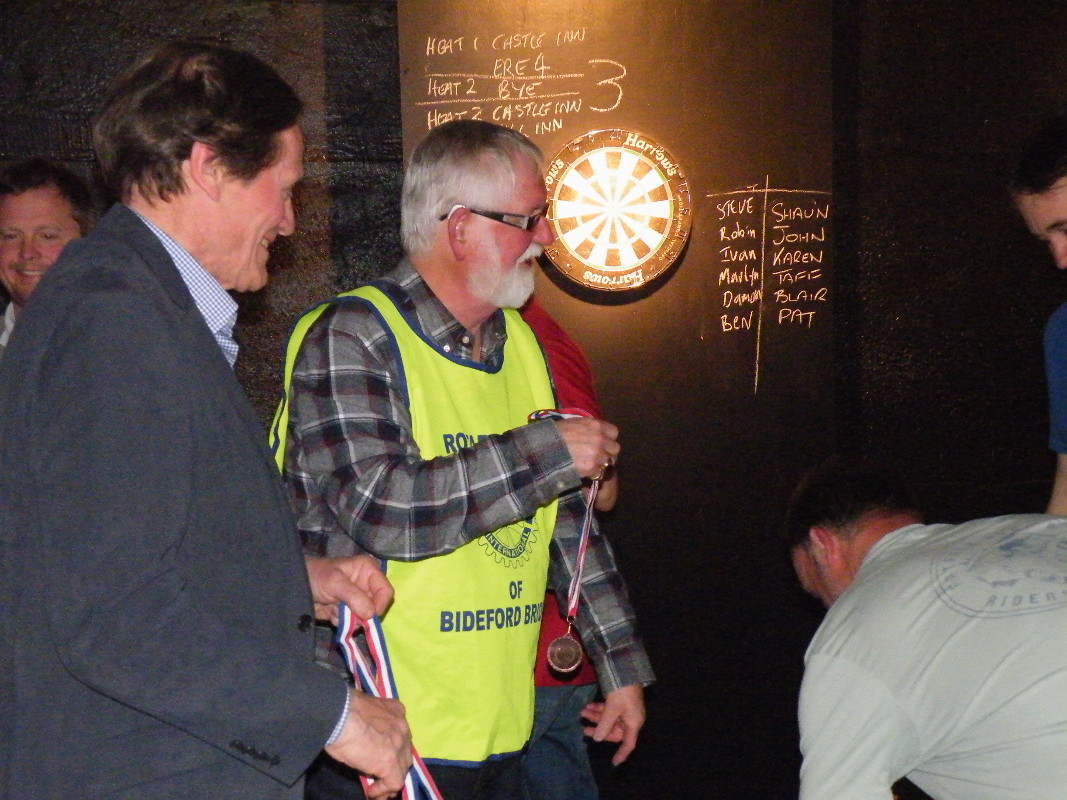 Darts Marathon - Pres. Jeremy and organiser of this competition, Rtn Rodney Grainger