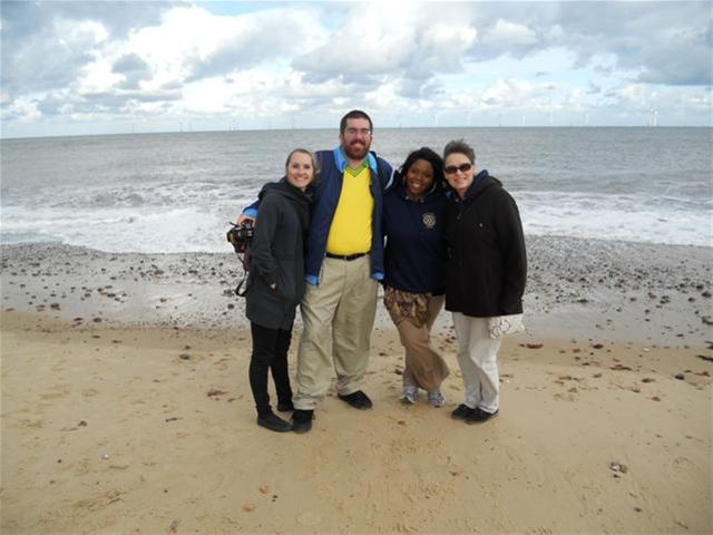 USA Group Study Exchange Team's visit to Norwich - Courtney, Adam, Ericka and Nikki looking cold on Scrobi Sands