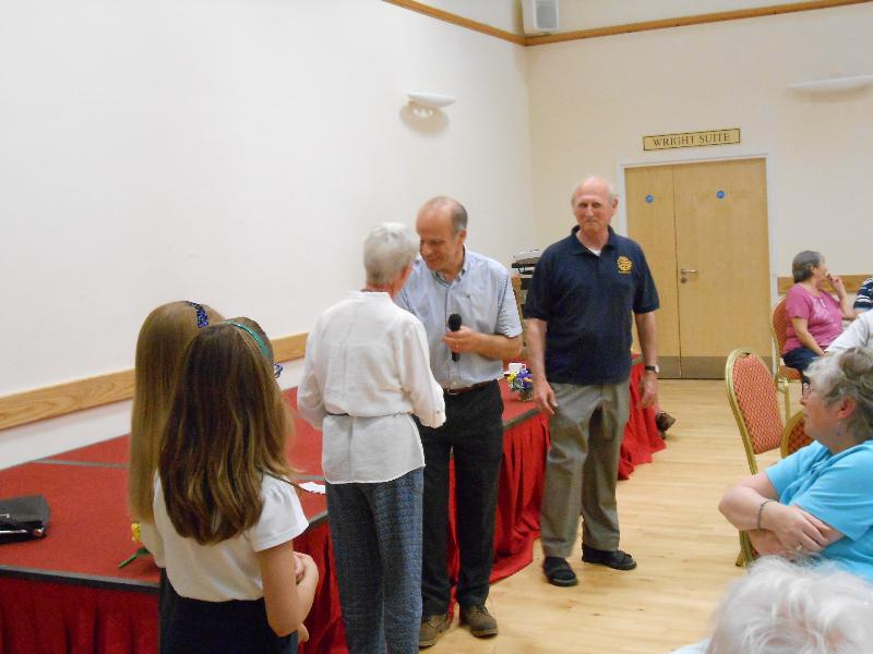 Strawberry Tea 2014 - Past President Robert Cole hands out cheques to beneficiaries