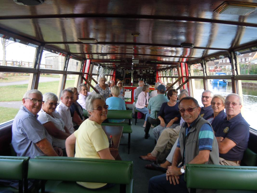 Wellington Rotarians and friends take a trip on the Grand Western Canal - Happy travellers !