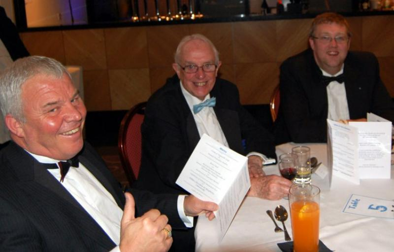 84th CLUB CHARTER ANNIVERSARY 2014 - Past President Michael Wills (centre) entertains his guesats