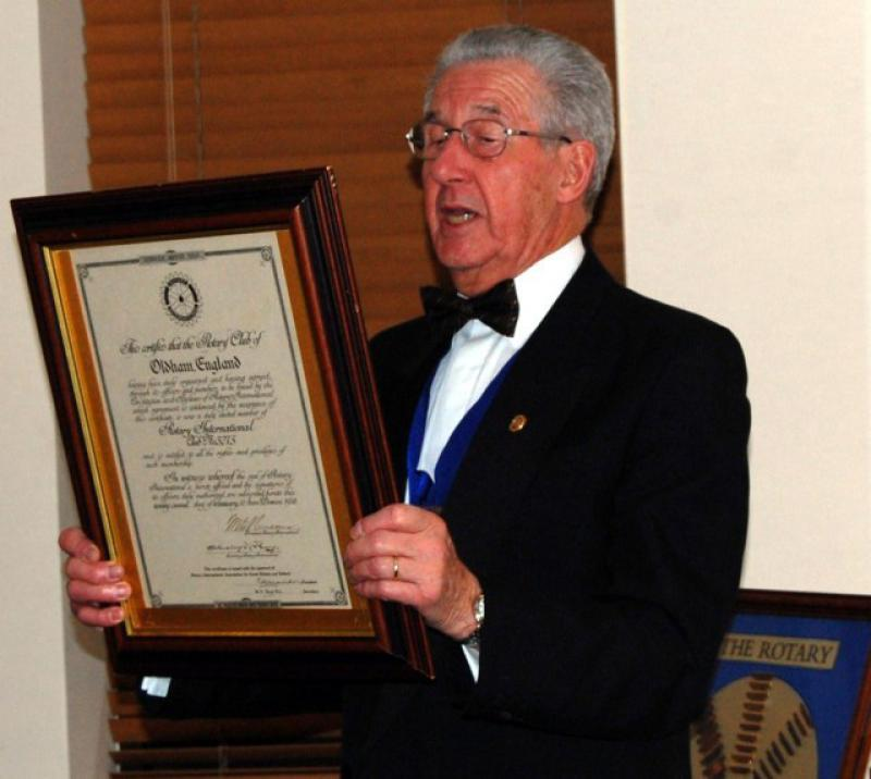 84th CLUB CHARTER ANNIVERSARY 2014 - Past President John Wilson P H F reads the original charter