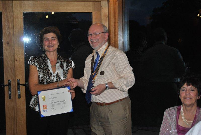 Club Handover at the Temeside Inn near Tenbury - Norman presenting Cathy Jones with her well-deserved Paul Harris Fellow.