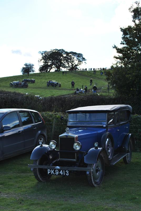 Car Rally parking for the VSCC near Whitton - Hill climb in background 1