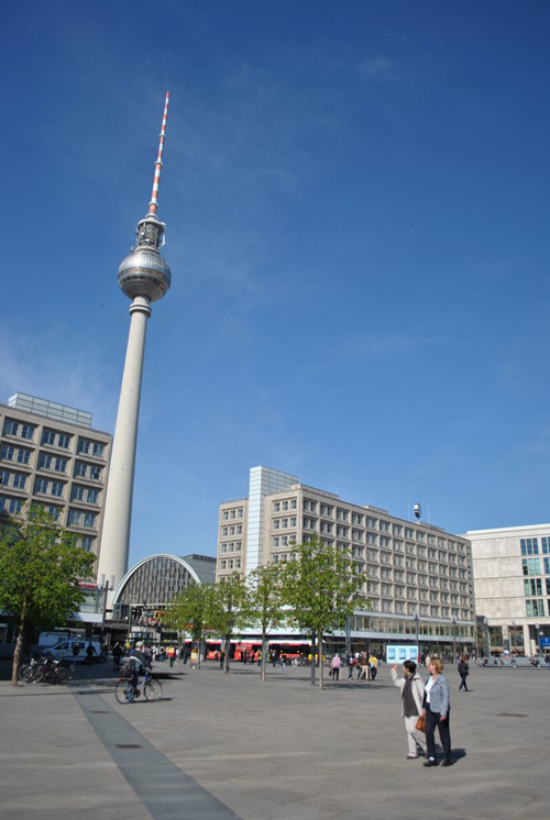 Berlin jaunt April 2012 - Leaving Alexanderplatz - Dorothy and Trixie admiring the Tower.