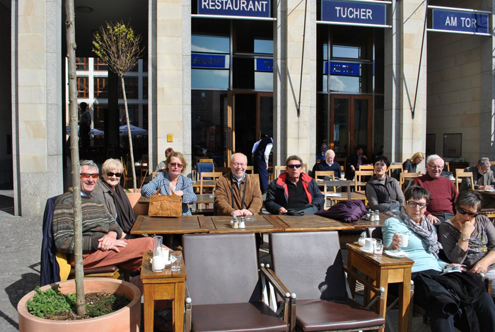 Berlin jaunt April 2012 - Cafe in the square by the Tor - David, Margaret, Trixie, Norman, Ivan, Dorothy, Adam people watching....