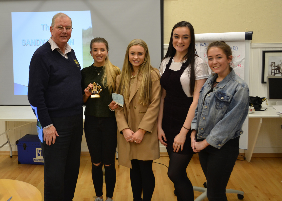 The Sandy Wilson Quiz - The Leasding Lights receive the trophy and cheque from St Fittick President, Alan Oswald