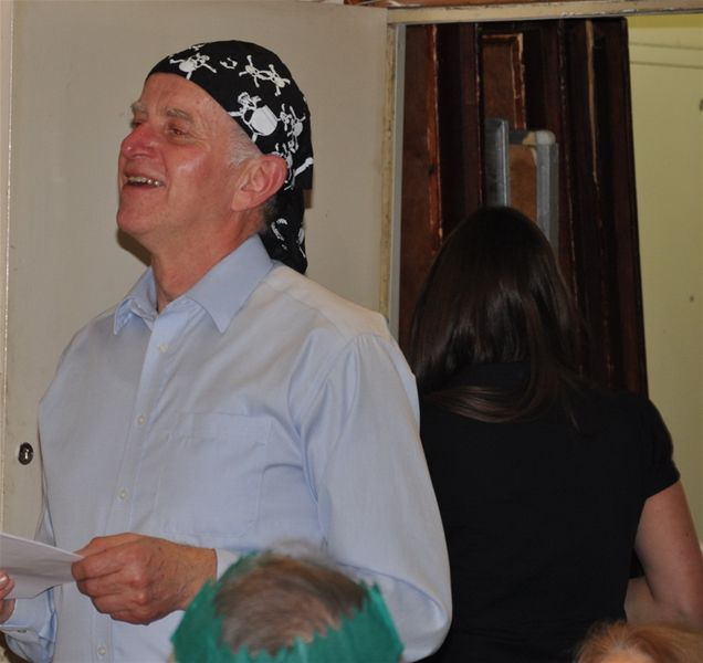 Christmas Party - Pirate President-elect Mike Wilkinson declaiming a poem
