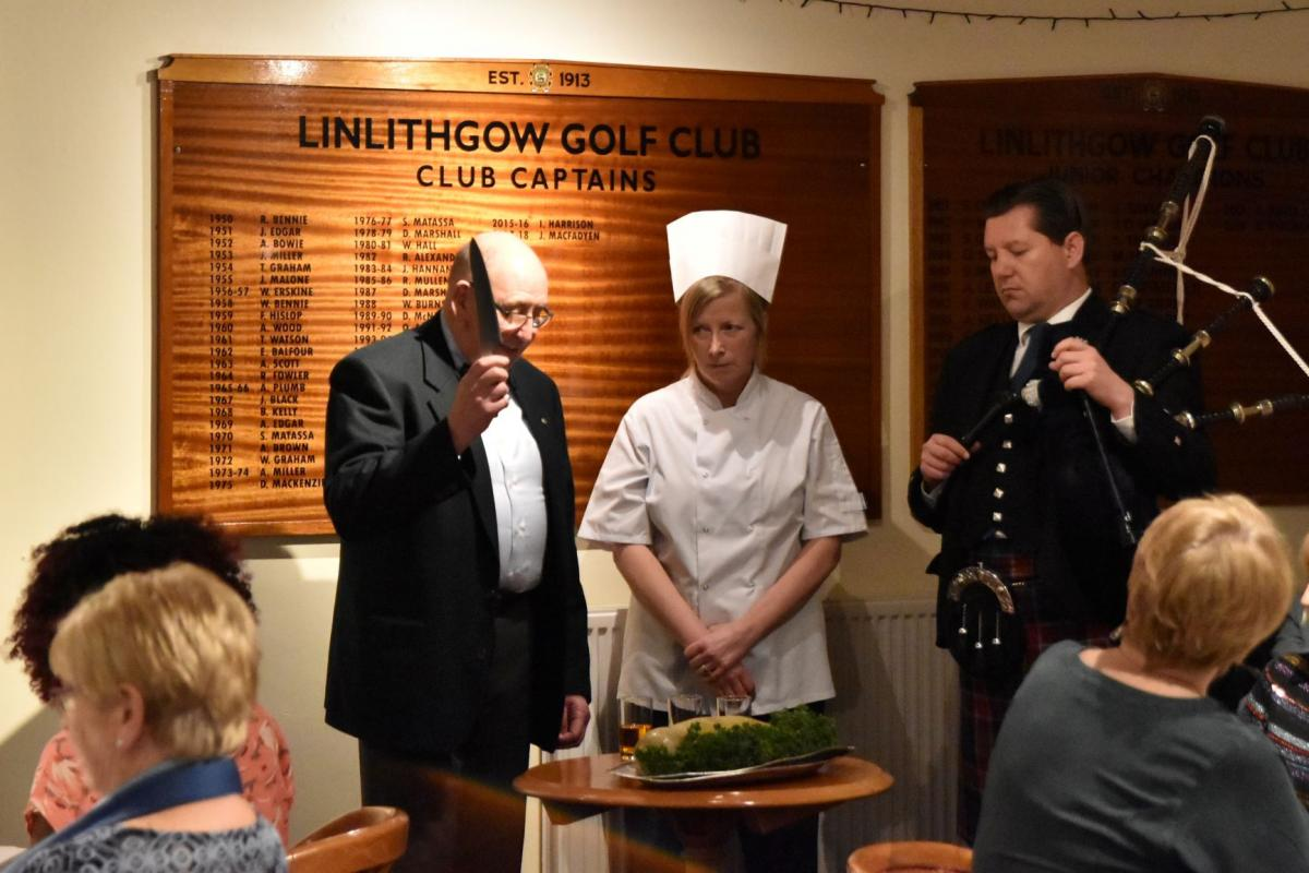 Scots Night January 2019 - Alistair Rennie's Address to the Haggis with Chef Karen Macauley and Piper Tom Blair