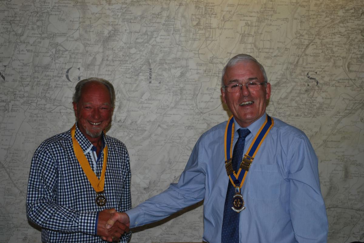 Club Assembly June 25th 2018 - President Tom Jones invests incoming Vice President Stephen Knight