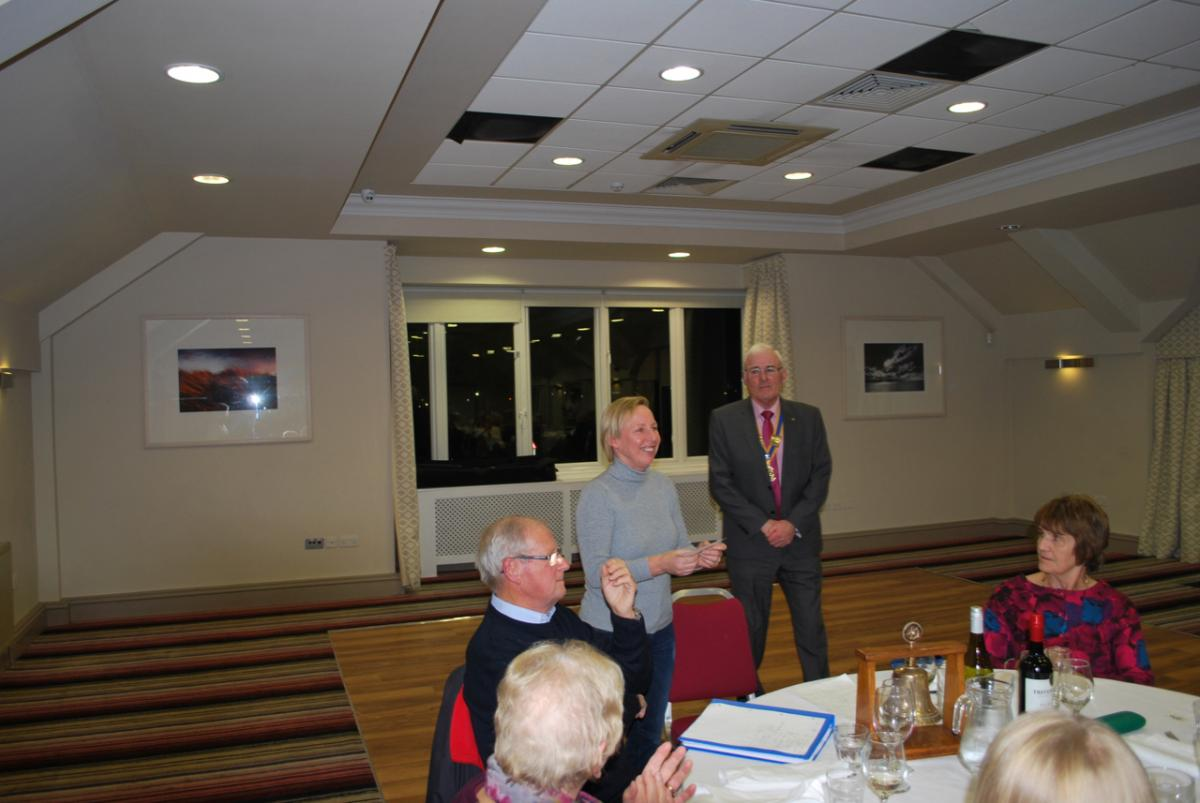 GuestEvening and Presentation Monday 29th October 2018 - President Tom Jones making a presentation to Cheryl Lookyer