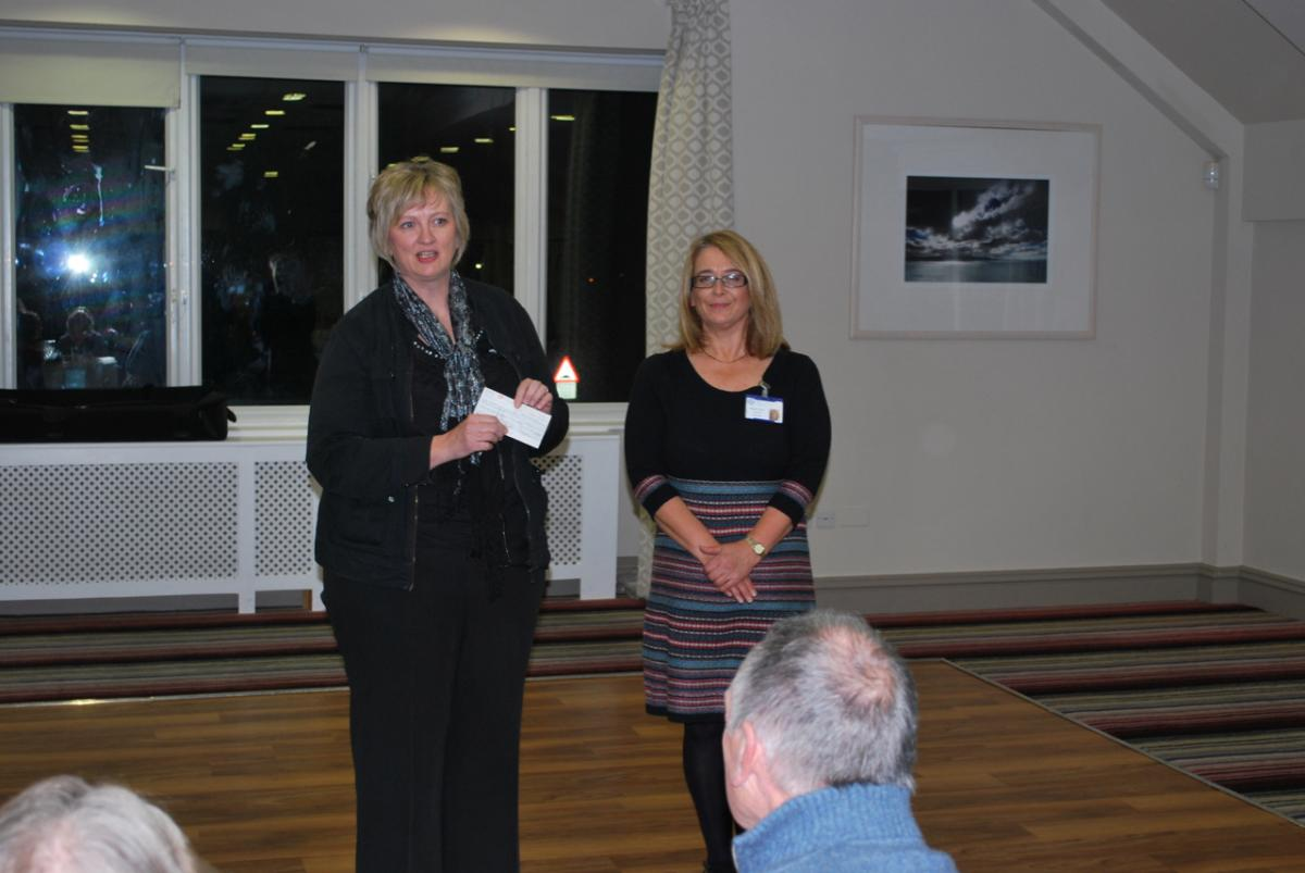 GuestEvening and Presentation Monday 29th October 2018 - Staff Nurse Susanne Edwards CCU Ysbyty Gwynedd responding to cheque received.