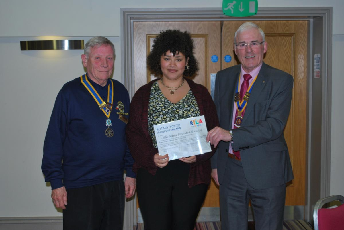 GuestEvening and Presentation Monday 29th October 2018 - Presidents Tom Jones and Anthony Pierce presenting Cella with her RYLA achievement Certificate
