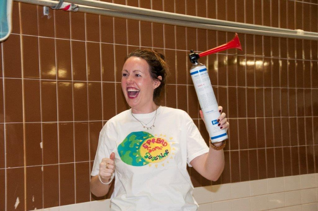 Purley Swimathon 2017 - Pictures - The wonderful 'spread some sunshine' 's Fay gets us underway