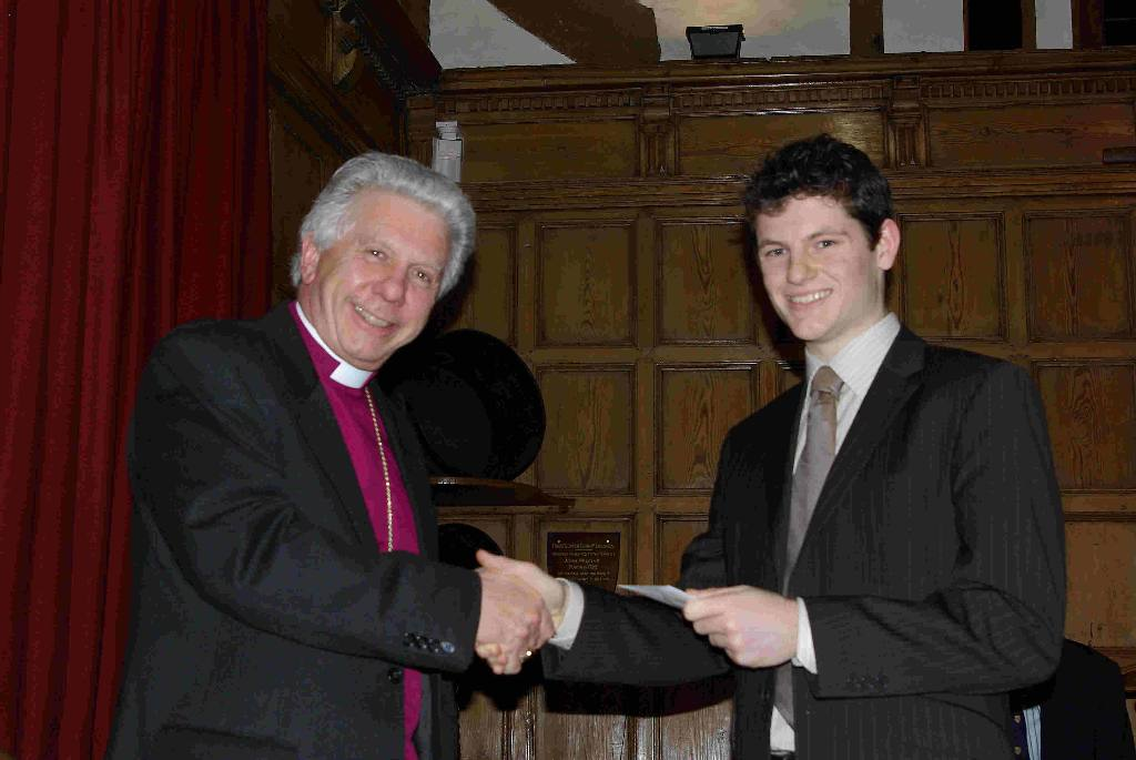 Guildford Debatethon 2008 - Fergus hamilton of RGS accepting the prize for Best Seconder For