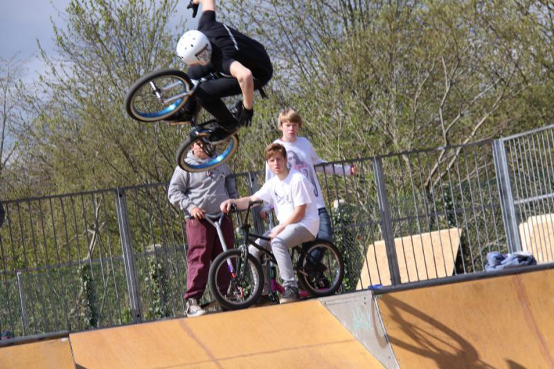 Wells Skate Board Park Re-Opening Ceremony - Declan-airborne-with-locals