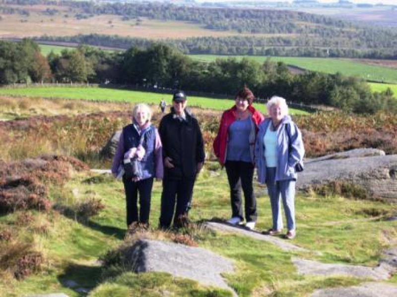 Derbyshire Walking Trip - The support group meet the walkers on Curbar Edge
