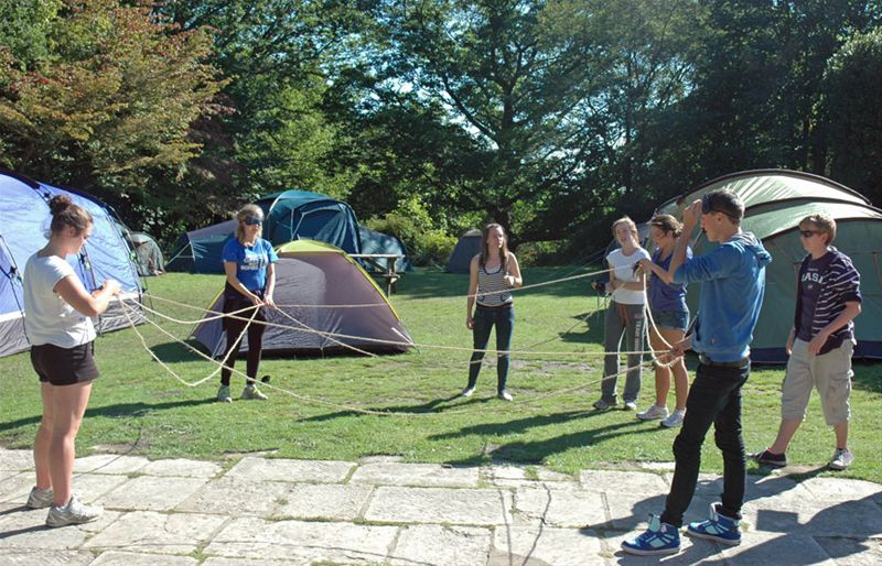 RYLA Courses Summer 2011 - A Rotarian led problem solving exercise called Rope Square on the August RYLA course organised by Rotary Wessex