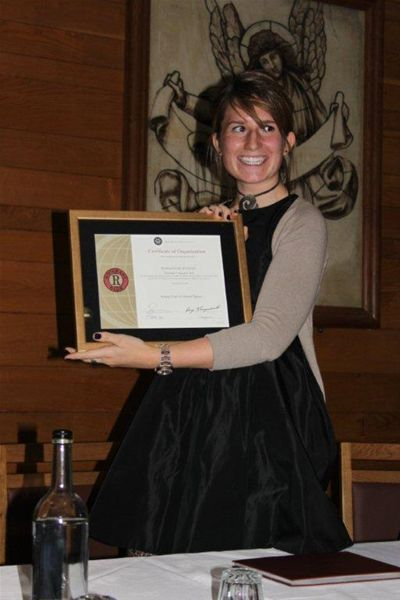 Oxford Rotaract Club receives its Charter - Sarah with Charter