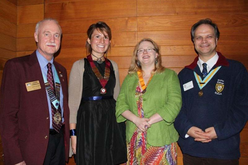 Oxford Rotaract Club receives its Charter - District Governor Laurie Cunningham, Oxford Rotaract Club President Sarah Field, President Elect Oxford Spires Naomi Barnes, Assistant Governor (Maroon zone) David Pope