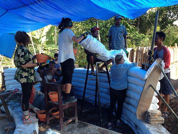 Lombok Earthquake Appeal - Building the walls and adding the doorway