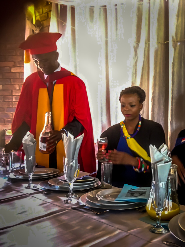 Carol's visit to Khensani, 2016 - in his Doctorate gown about to give a motivational speech to the newly qualified graduates