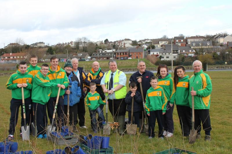 Peace Forest Ireland - The Drogheda tree planters from the Holy Family Boxing Club with Councillor Paul Bell.