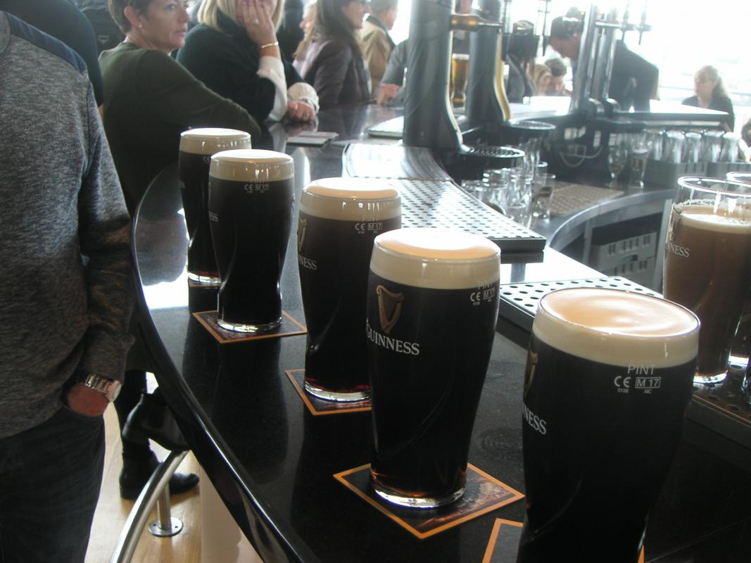 International Trip to Dublin 2017 - Our foaming pints lined up