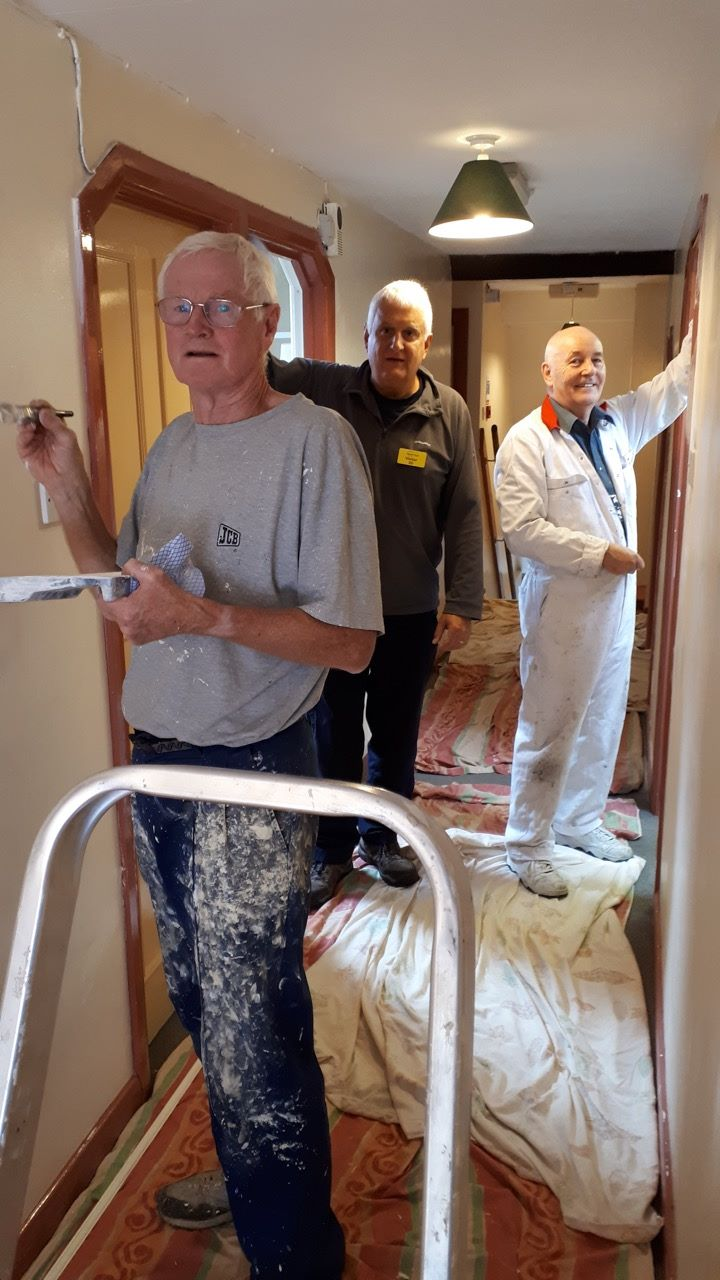 Community Service and Fund Raising - Tony Duncan, John Hayes and Steve Curtis get their overalls on for the Calvert Trust